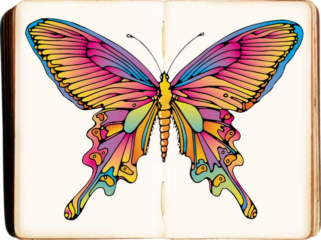 voorbeeld kleurplaat vlinder boek pastel om gratis uit