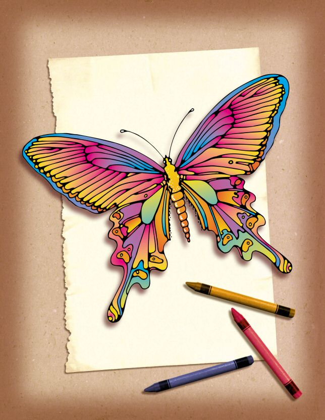 voorbeeld kleurplaat vlinder pastel om gratis uit te