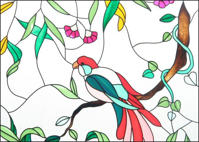 Voorbeeld Kleurplaat Vogel Op Tak Glas In Lood Om Gratis Uit