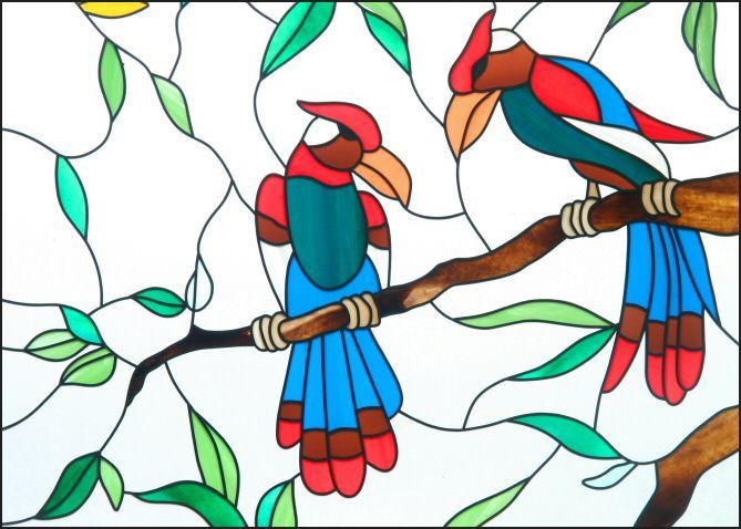 Voorbeeld Kleurplaat Vogels Op Tak Glas In Lood Om Gratis Uit